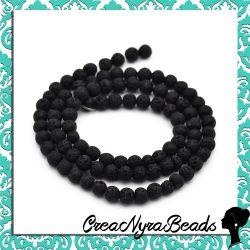 1 Filo Perle pietra lavica naturale 4mm nero +/-90 PZ
