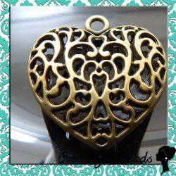 Maxi cuore filigrana 36x35 mm bronzato