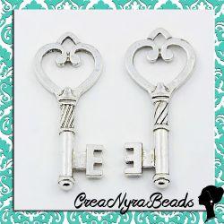 4 Pz Ciondolo pendente Maxi chiave cuore colore argento antico 47 mm