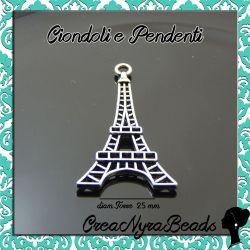 4 Pz Charms Ciondolo Torre Eiffel  44 mm in metallo tono antico