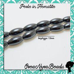 4 Pz Perla ovale in Hematite non magnetica 12x6 mm