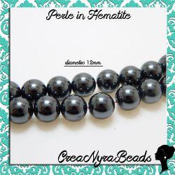 6 Pz PerlaTonda in Hematite non magnetica 12 mm