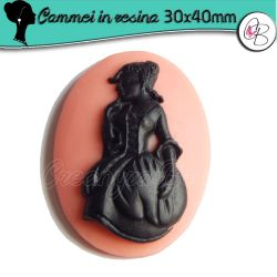Cabochon Cammeo in resina  Rosa Dama 800 40x30 mm