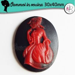 Cabochon Cammeo in resina  Rosso Dama 800 40x30 mm