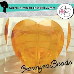 Perla Cuore Miele ab luster in mezzo cristallo sfaccettato 22 mm