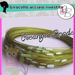 3 Pz Girocollo cavetto memory wire in acciaio rivestito  tono oro 46 cm