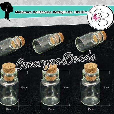 10 Pz Bottiglietta Piccola in vetro tappo in sughero 18x10 mm