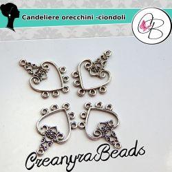 6 Pz  Candeliere Connettore Cuore per orecchini ciondoli Charms uso bigiotteria