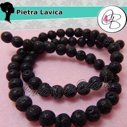1 Filo Perle pietra lavica naturale 6mm nero +/-63 PZ