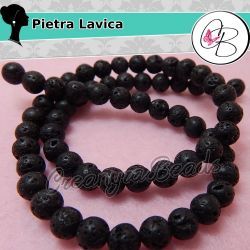 1 Filo Perle pietra lavica naturale 8mm nero +/-48 50 PZ