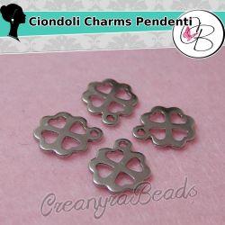 3 Pz Ciondolo charms Quadrifoglio in acciaio inossidabile