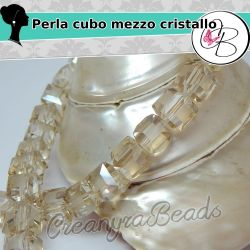 5 Pz Perla Cubo sfaccettato Ottanio Fiammato in mezzo cristallo 10 mm