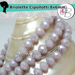 40 pz Rondella briolette mezzo cristallo Grey amethys matt 6 mm
