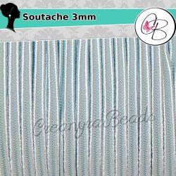 3 Metri Filato  piattina soutache 3 mm colore Aqua 30