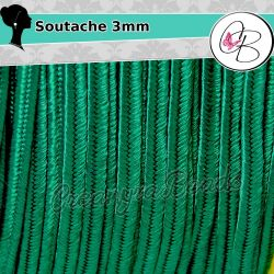 3 Metri Filato piattina soutache 3 mm colore Verde Smeraldo 29
