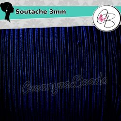 3 mt Piattina Soutache 3 mm Blu Navi , bigiotteria soutache