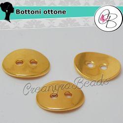 5 Pz Bottone in ottone tono Oro ovale 14x10 mm