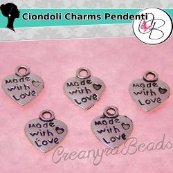 20 Pz Charms ciondolo Cuoricino Made with love 3d in argento tibetano 12x30