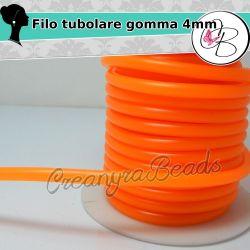 1 Metro Filo caucciù tubolare 4 mm forato colore arancio neon per bigiotteria