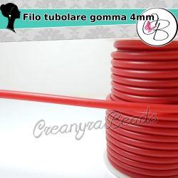 1 Metro Cordino forato caucciù Rosso 4 mm per bigiotteria