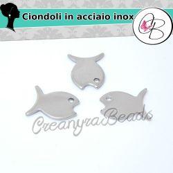 5 Pz Ciondolo charms Pesciolino 3d in acciaio inossidabile