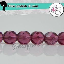 20 Pz Perle Cristallo fire polish Fuchsia 6 mm