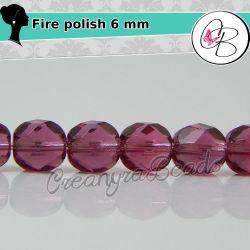 20 Pz Perle Cristallo fire polish Milky pink (rosa) 6 mm