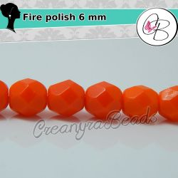 20 Pz Perle Cristallo fire polish Bright Arancio  opaque 6 mm