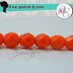 20 Pz Perle Cristallo fire polish Rosso  opaque 6 mm