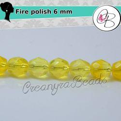 20 Pz Perle Cristallo fire polish Lemon Giallo 6 mm