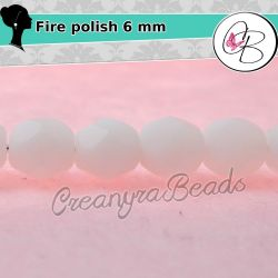 20 Pz Perle Cristallo fire polish Matt Alabaster 6 mm