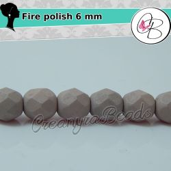 20 Pz Perle Cristallo fire polish Matt Honeysuckle (rosa)  6 mm