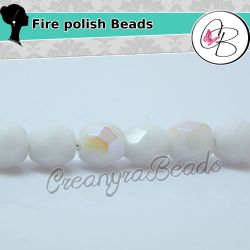 40 Pz Perle Cristallo fire polish opaque Bianco ab  4 mm