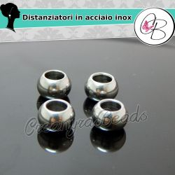 4 Pz Distanziatore 8 mm foro largo 4 mm in acciaio inossidabile