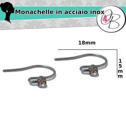 2 Paia  Monachelle orecchini con strass acciaio inox anallergiche