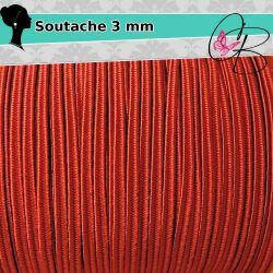 3 Mt Filato soutache piattina da 3 mm colore Rosso 12