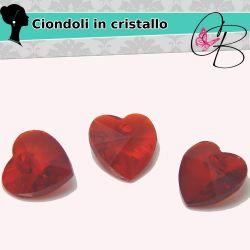 3 Pz Ciondolo  Cuore in cristallo boemo Rosso 10 mm