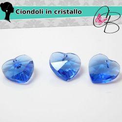 3 Pz Cuore in cristallo boemo Sapphire 10 mm