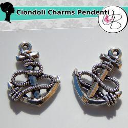 8 Pz Charms Ciondolo  ancora 25mm in metallo tono argento antico
