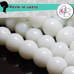10 Pz sfera perla bianco in vetro pressato liscia 14 mm