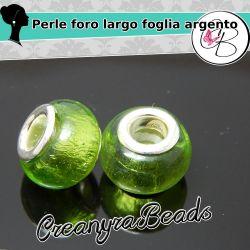 3 Pz Perla foro largo vetro Foglia argento Verde 13x10mm