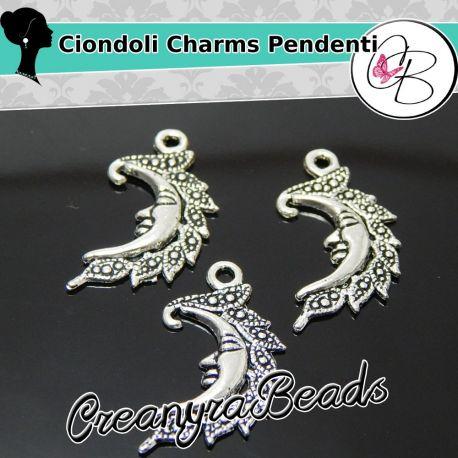 10 Pz Charms Ciondolo Luna in metallo argento antico 26x13 mm