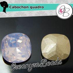 Cabochon quadro arrotondato cristallo Pacific opal 12 mm soutache pietra da incastonare
