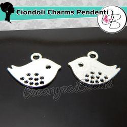 10 Pz Ciondolo Charms Uccellino 16x13mm in metallo tono argento