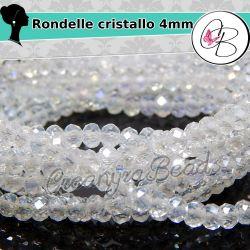 40 Pz Rondelle mezzo cristallo Crystal ab 4 mm cipollotti perle sfaccettate