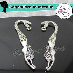 2 Pz Segnalibro Sirena 8 cm in metallo tono antico
