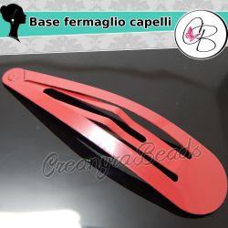 2 Pz Maxi Fermaglio clic clac Metallo Bordeaux 8,5 x2 cm