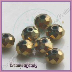 20 PZ Rondella briolette mezzo cristallo Crystal oro 6 mm