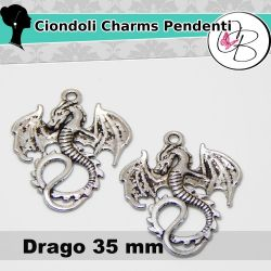 2 Pz Charms ciondolo Drago in metallo Argentato 35mm