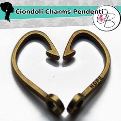 5 Pz Ciondolo Chiusura Amo in metallo tono bronzo 38 mm
